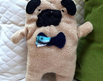 Frank ~ The Fawn Pug Bow Tie Bummlie ~ Stuffing Free Dog Toy ~ Ready To Ship Today - Sharkie Head Bow Tie