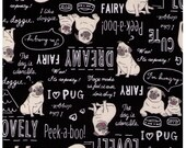 HALF YARD - Westex - Must Love Pugs on BLACK WS28047-2E - Oxford - Text, Dog House, Heart, Love, Dog, Dreamy, Mans Best Friend