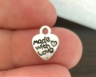 100 Made With Love Heart Charms silver metal BULK CHARMS (H8212)