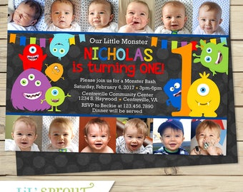 1st Birthday Monster Invitation - One Year Old- 12 Photo Collage Invitation - First Year Birthday Invitation- Print Your Own - Digital File