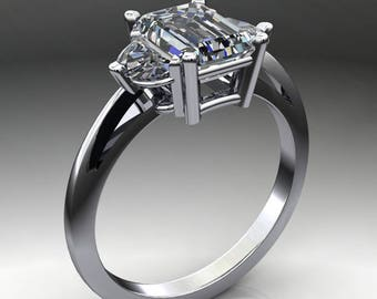 Private Listing for Katelyn - ava ring - 1.8 carat radiant cut NEO moissanite engagement ring, half moon side stones - payment 1 of 2
