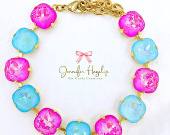 Ultra Pink AB With Light Turquoise 12mm Cushion Cut Swarovski Crystal Statment Bracelet LOADS of *SPARKLE*