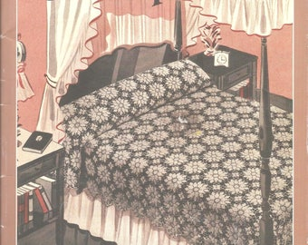 Bedspreads Crochet Pattern book vintage 1940s reproduction