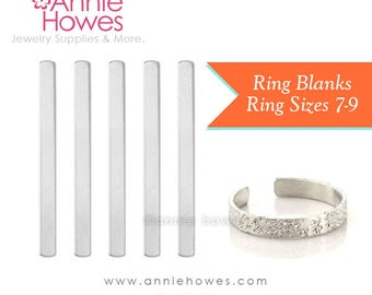 Skinny Ring Blanks for Metal Stamping. Soft-Strike Aluminum. Sizes 7-9