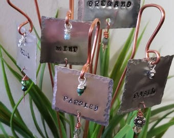 5 Hand Stamped Plant Tags or Markers for Herbs, Plants or Flowers in your garden