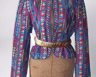 Vintage Jim HEILMAM Embroidered Denim Jacket / size 4 6 8 10 small / Blue Metallic GOLD Red Rockabilly / 80s Cropped Bolero USA