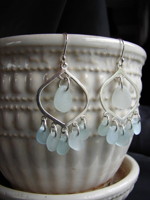 Diviner sea glass earrings in white