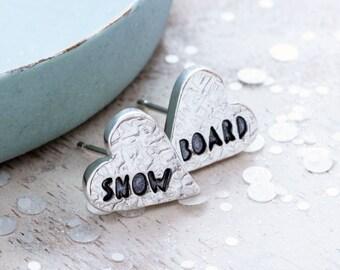 Snowboard - Silver Heart Earrings, Snowboarding gifts, Snowboarder Earrings, Snowboard Jewellery, Gifts for Snowboarders, Winter Jewellery
