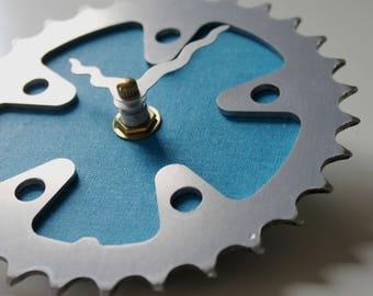 Bicycle Gear Clock - Turquoise  |  Bike Clock  | Wall Clock | Recycled Bike Parts Clock