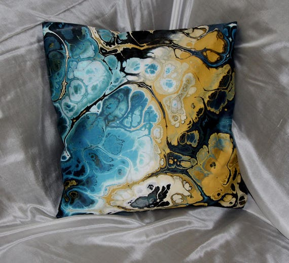 Handmade Lightening Blue Gold Throw Decorative Designer Artist Created Pillow 18 inch Square with Zipper and Insert