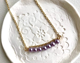 Lavender Glass Bead Necklace, 14k Gold Plated Wire Wrap Necklace, Adjustable Necklace, Handmade Jewelry, Gifts For Her