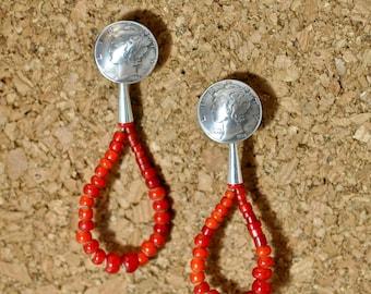Jacla earrings mercury dime  sterling silver old red glass