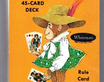 Vintage Slap Jack Deck Playing Cards Monkey Jacks Compete Deck in Plastic Case