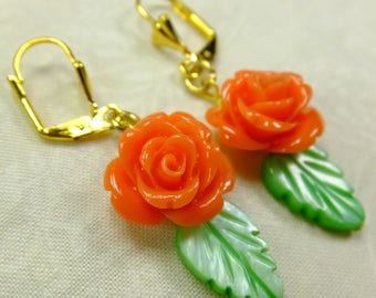 Rose Lover Earrings Bright Orange Resin Rose Beads with Green Leaf Shell Beads Dangle Lever Back Ear Wires