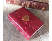 """Leather Journal . LOVE - """"i carry your heart with me"""" -ee cummings . Handmade Handbound . supple red with heart button (320 pgs.)"""