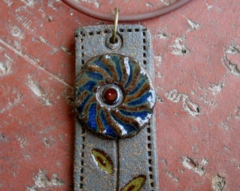 Rustic Simple Blue Flower Stoneware Pendant