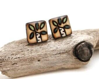 Wood Square Tree Stud Earrings, Simple Casual Birch Tree Studs, Hypoallergenic