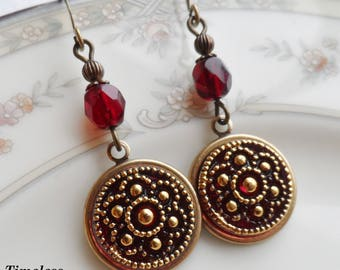 Czech Art Glass Button Earrings, Made from Vintage Molds, Ornate Flower Design, Garnet Red with Gold Highlighting