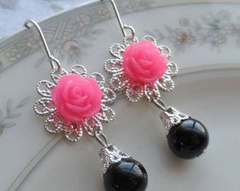 75% Off Price Sale, Hot Pink,  Mum Flower, Silver Filigree, Glass Black Bead
