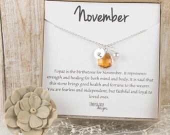 November Birthstone Personalized Silver Necklace, Topaz Necklace, November Birthday Jewelry, Personalized Silver Necklace #869
