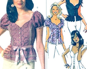 Princess seam top sweetheart neckline Summer short sleeved blouse Butterick 4988 sewing pattern UNCUT size 6 to 12