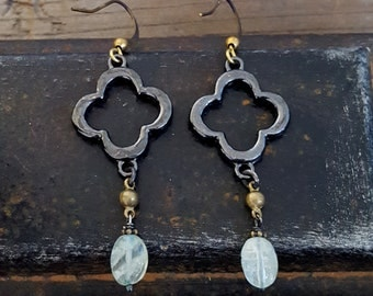 Aquamarine Gemstone Earrings, Black Clover, Black and Gold, Light Blue Stone, Rustic Stone Oxidized Silver Gold Brass, Mixed Metal