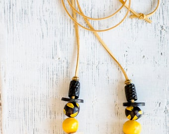 Beaded Necklace, Statement Necklace, Chunky Beads, Modern Necklace, Yellow Black Necklace, Hand-made Beads