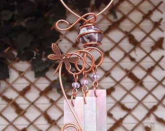 Dragonfly Windchime Glass Wind Chimes Copper Garden Lawn Yard Art Sculpture Stained Glass Ornament Metal Lilac