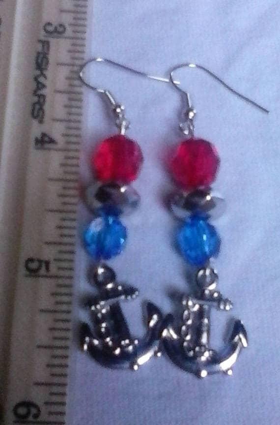 Patriotic Anchor Charm Earrings