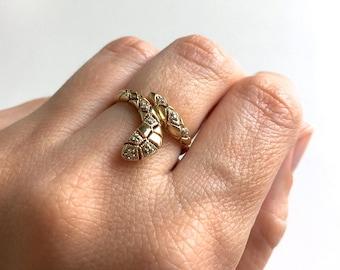 Vintage Diamond Serpent Snake 14K Gold Ring