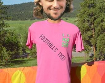 vintage 90s t-shirt foothills TAEKWON DO winter games 1990 colorado neon tee Medium Small
