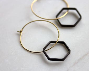Minimalist Black and Gold Earrings, Modern Hoop Earrings, Hexagon Earrings, Honeycomb earrings, gold earrings, bridesmaid, gift for her