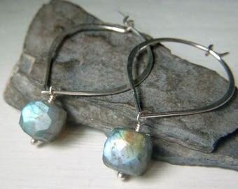 Labradorite Cube Earrings, Sterling Silver Earrings, Marquis Hoop Earwire, Genuine Labradorite