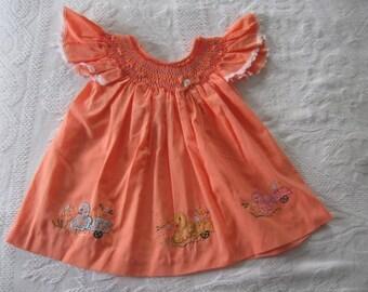 Infant's Smocked Dress, Doll Dress, Little Girls Smock top Dress