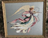Angel of Spring ~ Framed Heirloom Quality Counted Cross Stitch Needlework Art