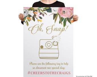 hashtag wedding sign, hashtag poster, Large Custom Wedding Sign, Blush and Gold Wedding Decor, Oh Snap Wedding sign