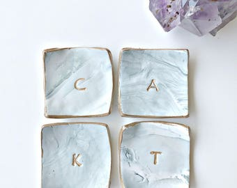 Personalized rose gold faux marble ring dish