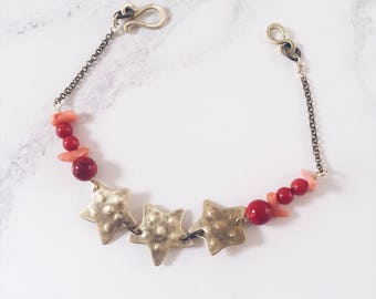 Starfish bracelet, brass & bamboo coral gemstones, coral pink and red bracelet, seaside summer jewelry