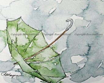 Green Umbrella in the Rain Watercolor Painting Print