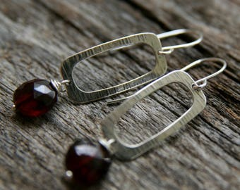 garnet earrings, sterling silver garnet earrings, geometric earrings, ckb creations, garnet dangle earrings, rectangle earrings,