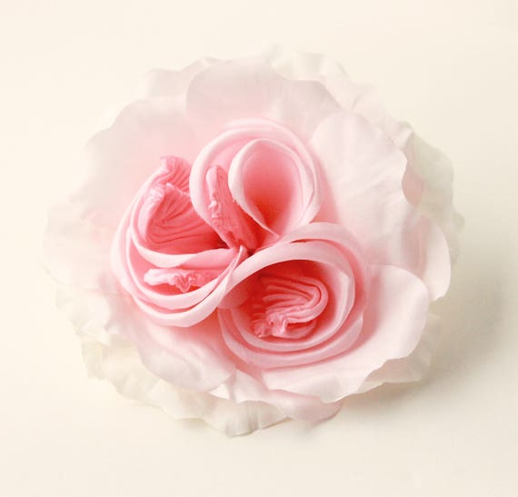 Large flower hair clip, Bridal hair accessory, Wedding floral clip or corsage, Pink rose, Purple flower, Ivory white flower clip - 4 COLORS