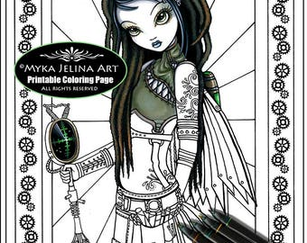 Steampunk cloud etsy for Myka jelina coloring pages