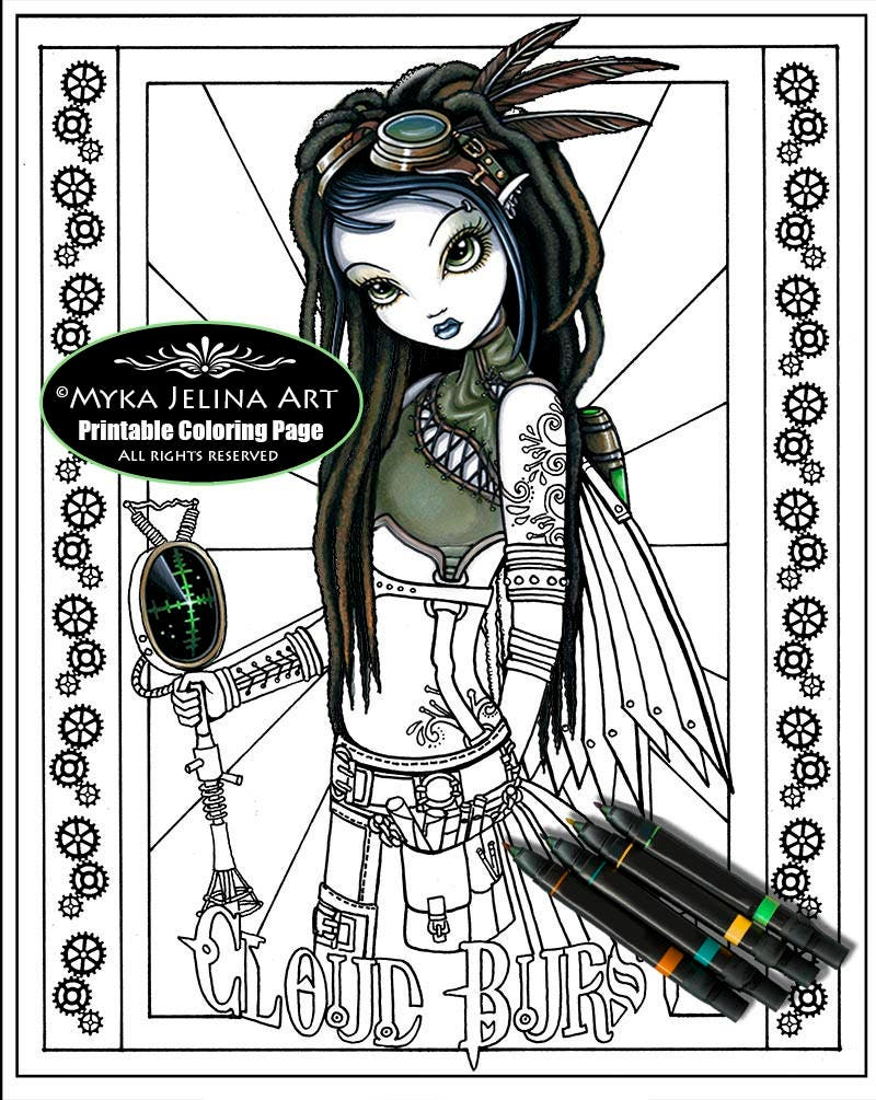 Cloud burst steampunk fairy digital download coloring for Myka jelina coloring pages