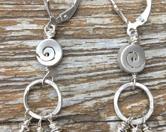 Sterling Silver Hammered Spiral Earrings