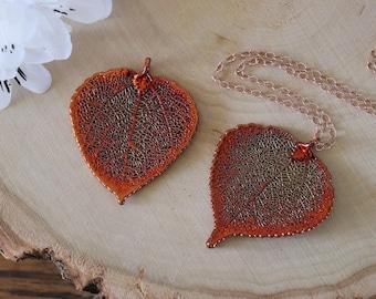 Copper Aspen Leaf Necklace, Real Leaf Necklace, Aspen Leaf, Rose Gold, Leaf Pendant LC180