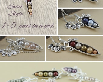 pea pod necklace, 12345 peas in a pod, sterling silver, pearl birthstone, gift for mom, gift for wife, sister necklaces, personalized gift