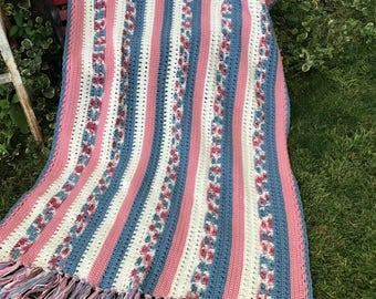 Vintage Hand Crochet Dusty Rose, Country Blue and Off White Stripes Afghan with Fringe