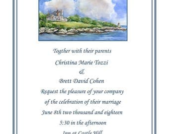 Inn at Castle Hill Newport Rhode Island wedding invitations, rehearsal dinner invitations, save the date cards, nautical wedding, newport RI