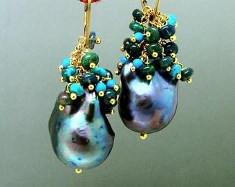 14k Gold GF Black Keishi Baroque  Pearl Black Opal Turquoise Gemstone Earrings