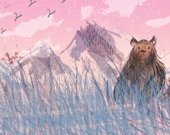 Two bears limited edition A4 art print, illustration, wall art